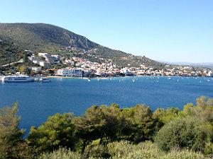 Uitzicht op baai Tolo Peloponnesos Griekenland