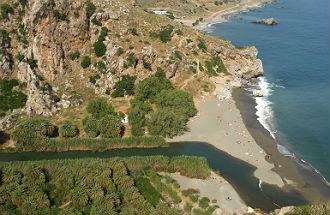 Preveli Palm beach op Kreta Griekenland
