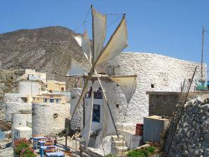 Windmolen in Olympos op Karpathos Griekenland