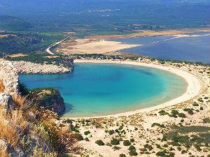 Mooiste stranden van Griekenland Voidokilia beach