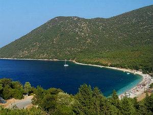 Antisamos beach Kefalonia overzicht