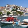 Skopelos stad boulevard en haven