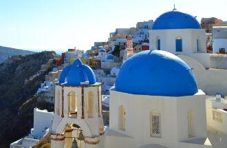 Oia op Santorini opkomende bestemming in Europa