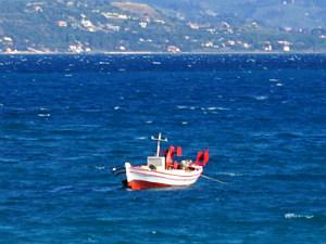 Minia vissersboot op Kefalonia