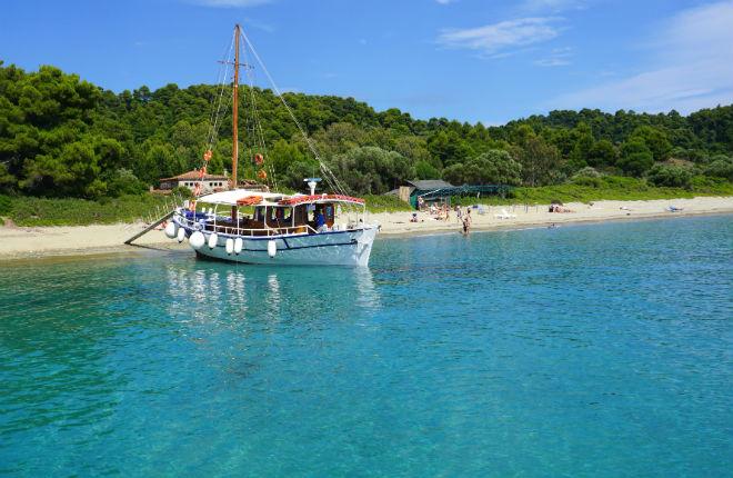 Tsougria beach op Skiathos in Griekenland