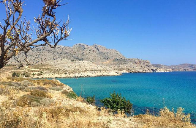 Agathi beach op Rhodos