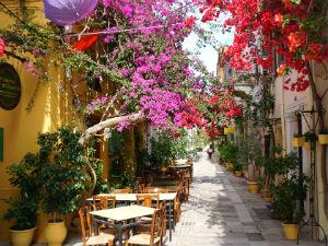 Nafplion Peloponnesos straatje met bougainvillea
