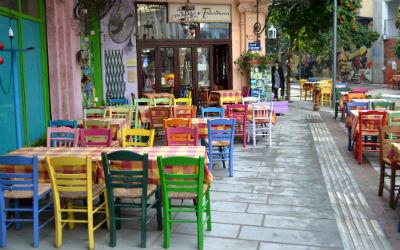 Thessaloniki kleurrijk terras