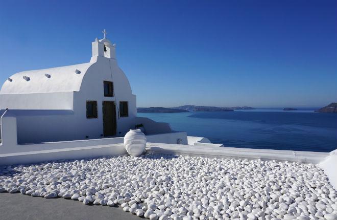 Finikia op Santorini in Griekenland
