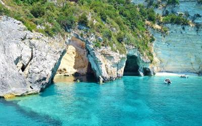 Blue Caves bij Paxos zwemmen in Griekenland