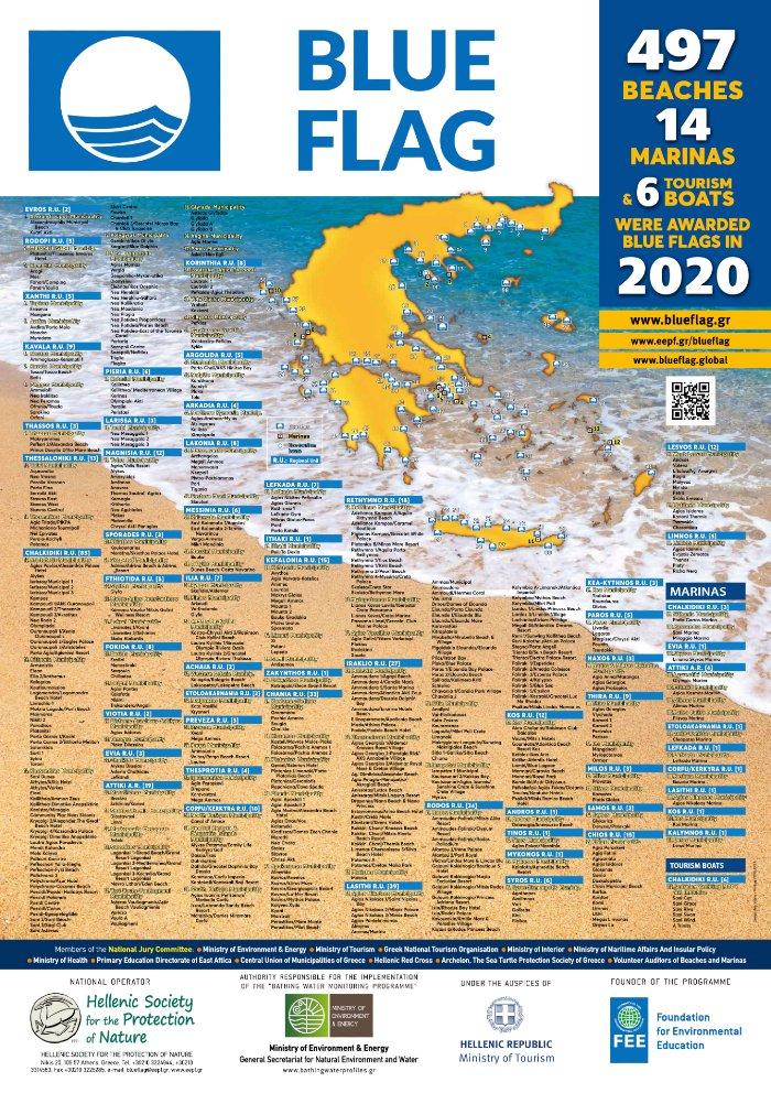 Blue Flag beaches Griekenland 2020 overzicht
