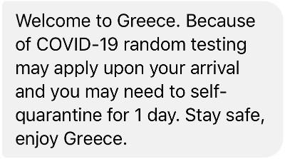 SMS Griekse overheid Covid-19 zelfquarantaine