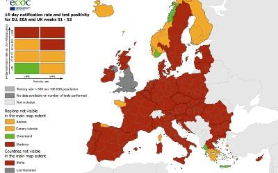 Griekenland kleurt groen op kaart ECDC