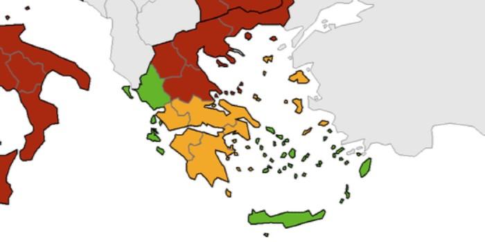 Ook Kreta en Epirus op groen bij ECDC