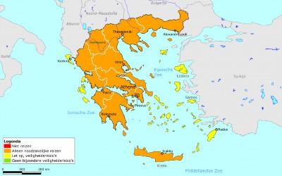 Griekse eilanden op geel. Zomervakantie naar Griekenland 2021